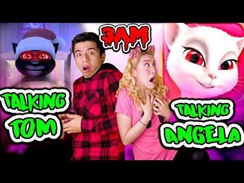 NUNCA JUEGUES TALKING ANGELA VS TALKING TOM a las 3 AM | Palomitas Flow