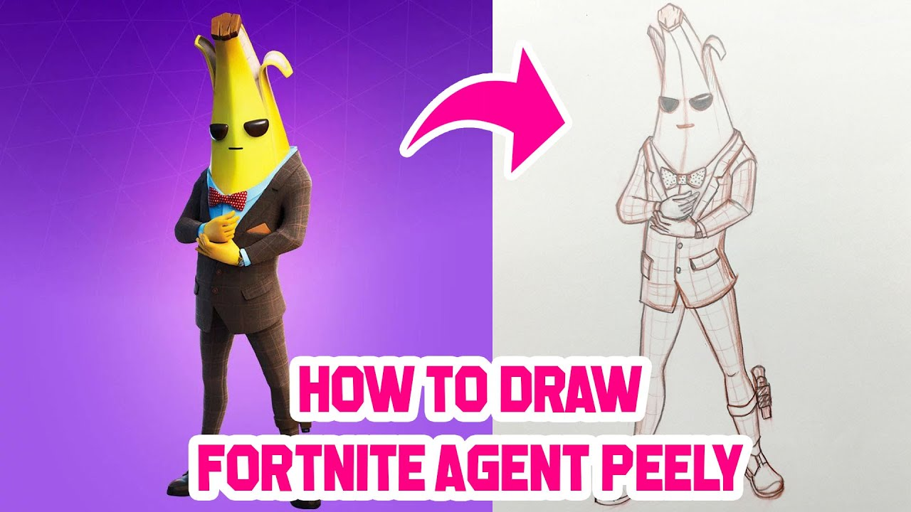 How to Draw Agent Peely Skin   Fortnite Agent Peely ...