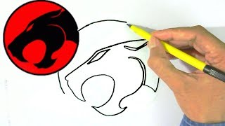 How to draw Thundercats Logo easy steps for children, kids, beginners