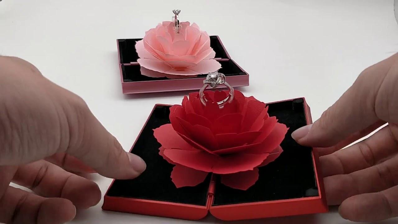 玫瑰花戒指盒_平面盒子版 求婚最佳禮物 - YouTube