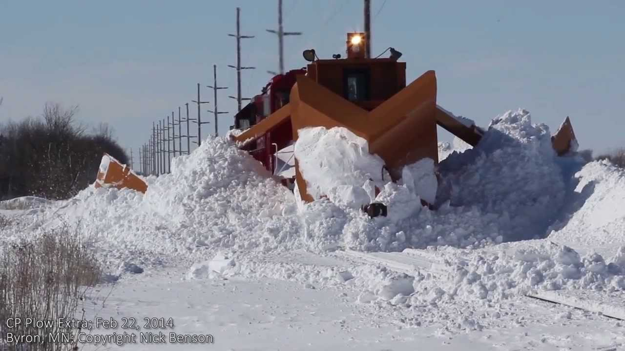 Snowplow Train Clearing Drift With Jordan Spreader In