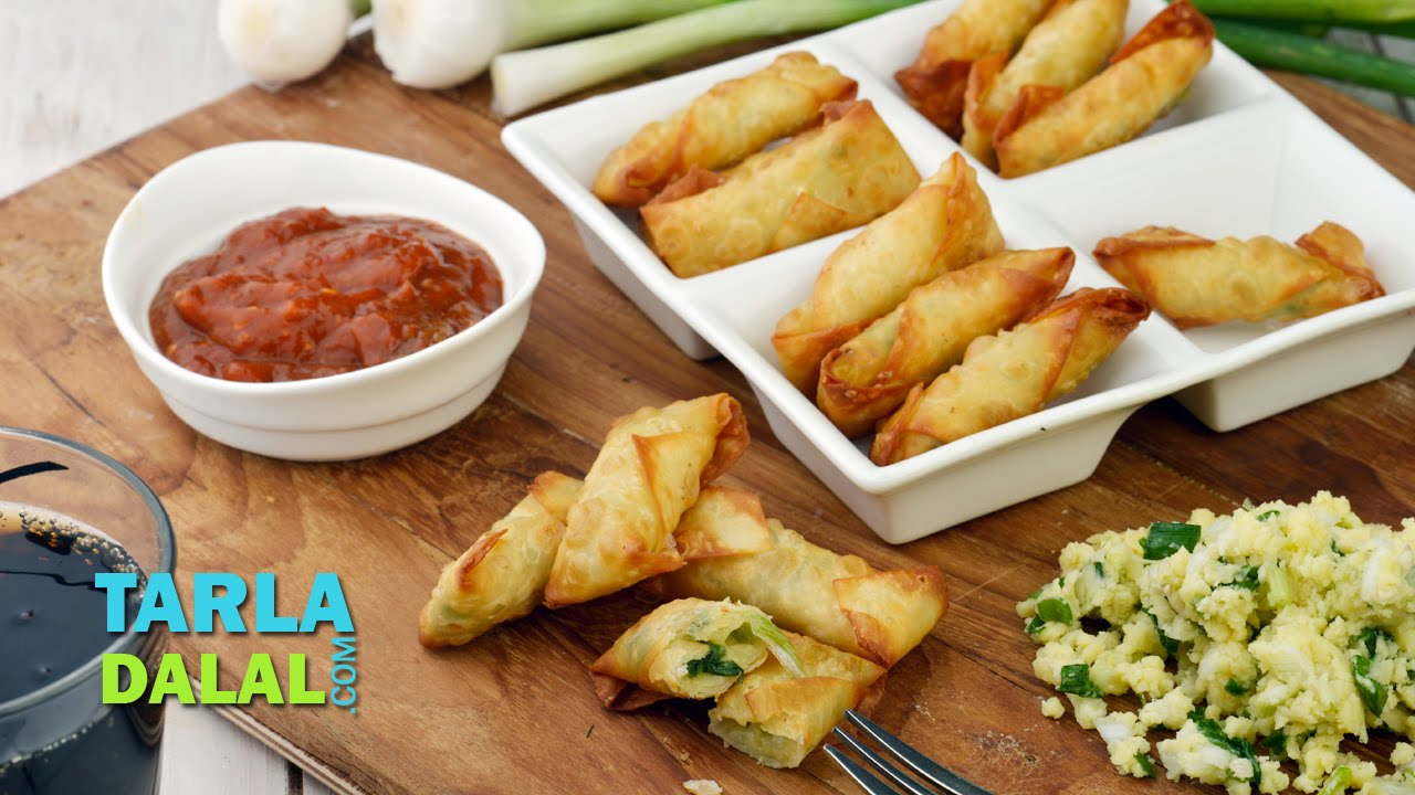 Cheesy Spring Onion Cigars Party Starter Or Appetizer Snack Recipe By Tarla Dalal