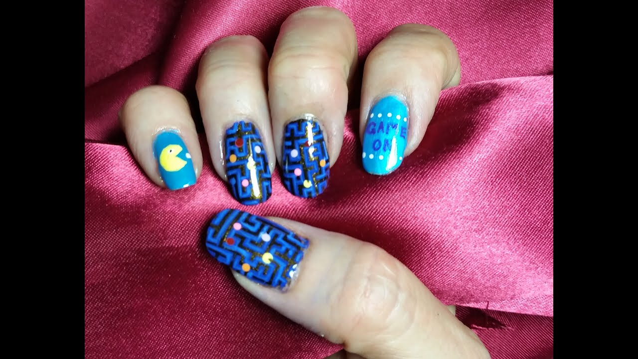 Stamping nail art design pac man nails youtube prinsesfo Image collections
