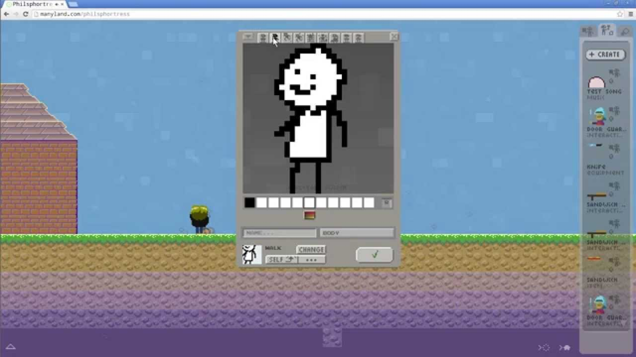 how to create your body in manyland