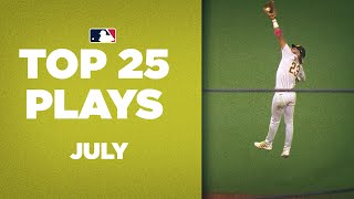 Top 25 Plays of the Month (July)   Fernando Tatís Jr. CRAZY jump catch and so much more!