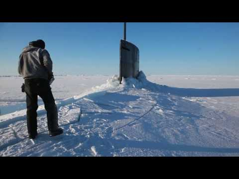 Surfaced US Navy Submarine In The Arctic Ocean