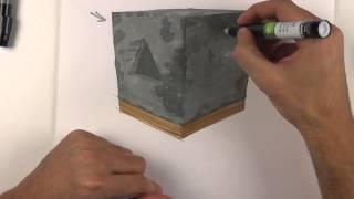 Видеоурок по созданию текстуры бетона. Рисуем текстуру бетона маркерами