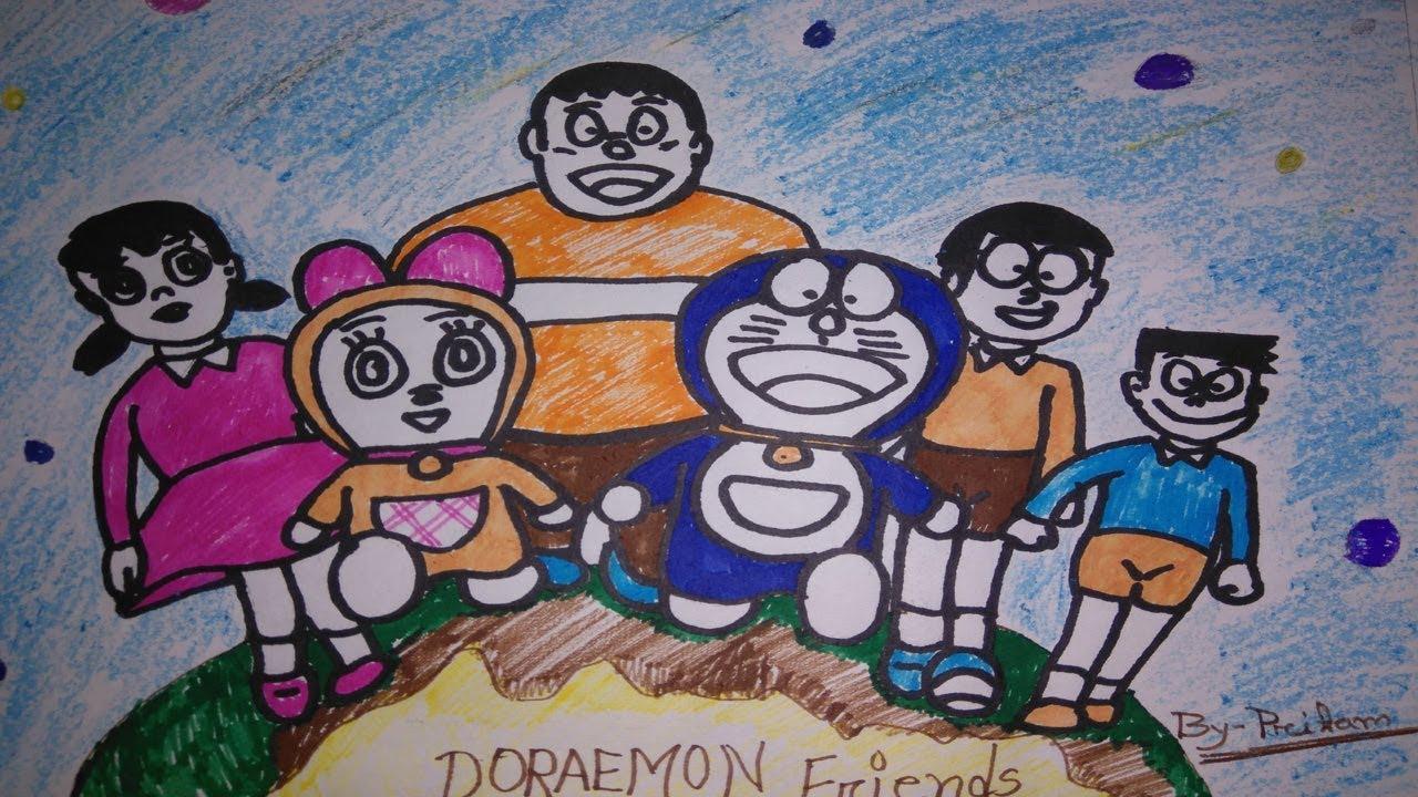 Cara menggambar doraemon dan kawan kawan