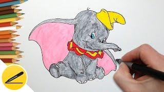 Как Нарисовать Дамбо - персонаж из мультика - Рисуем слоника поэтапно
