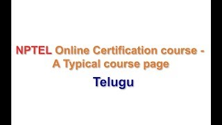 NPTEL Online Certificate Course - A Typical Course Page - Telugu thumbnail