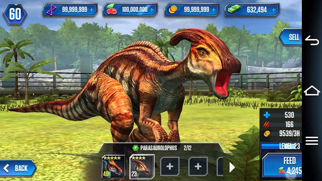 jurassic world the game - parasaurolophus level 40 - youtube
