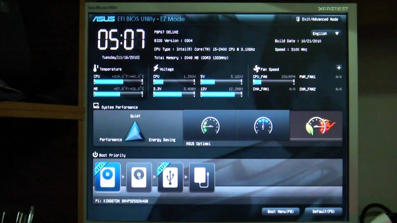 Asus P8p67 Deluxe Efi Bios Ez Mode Youtube