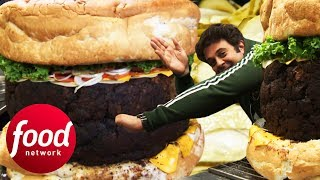 Crowd Help Adam Eat The World's Biggest Burger Worth $8K | Man v Food