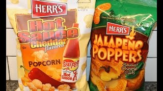 Herr's: Hot Sauce Cheddar Flavored Popcorn & Jalapeno Poppers Cheese Curls Review