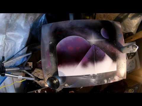 Purple Pyramid Spray Paint Art
