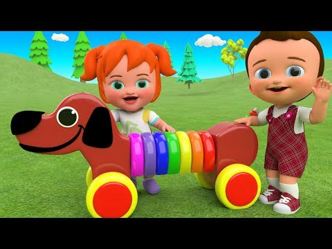 Learn Colors for Children with Little Ba & Girl Fun Play Wooden Dog Rings Slider Toy Set 3D Kids