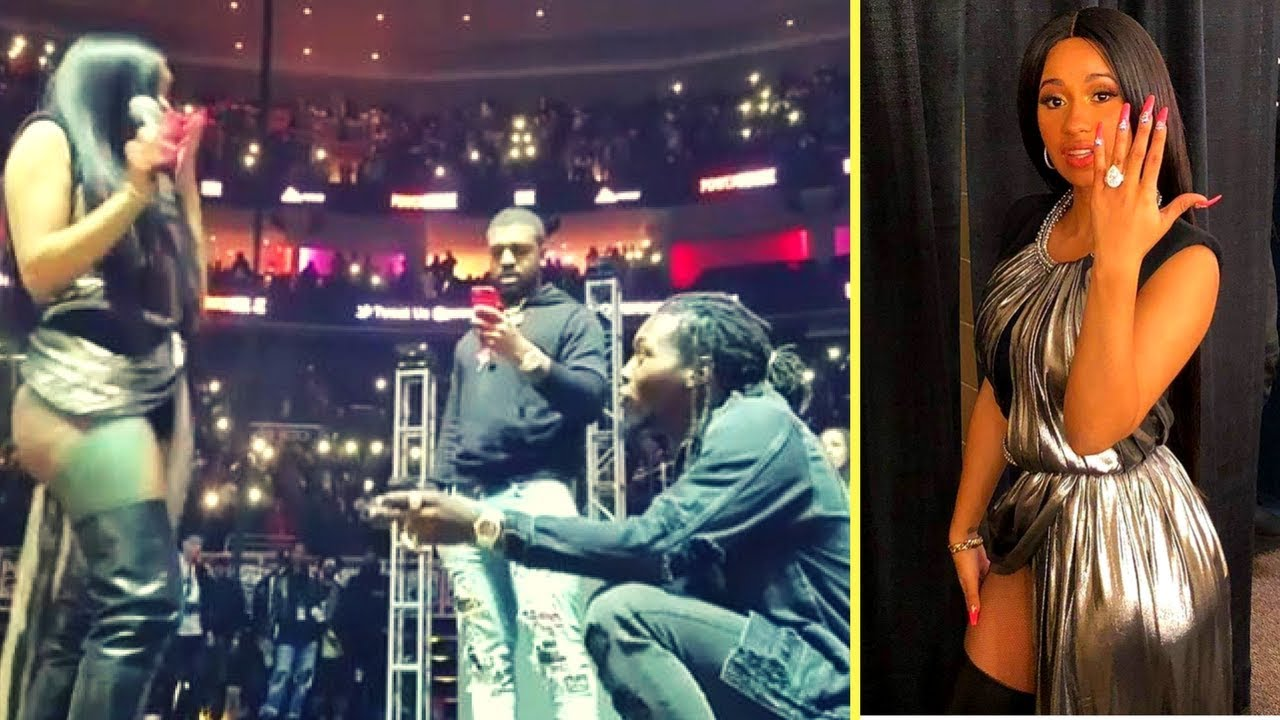 Offset Proposes To Cardi B On Stage With 8 Ct Diamond Engagement