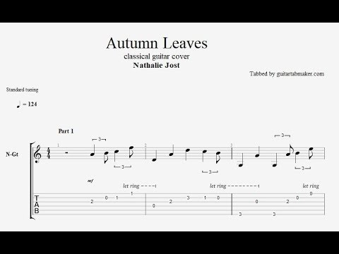 Autumn Leaves TAB - fingerstyle classical guitar tab - PDF - Guitar Pro
