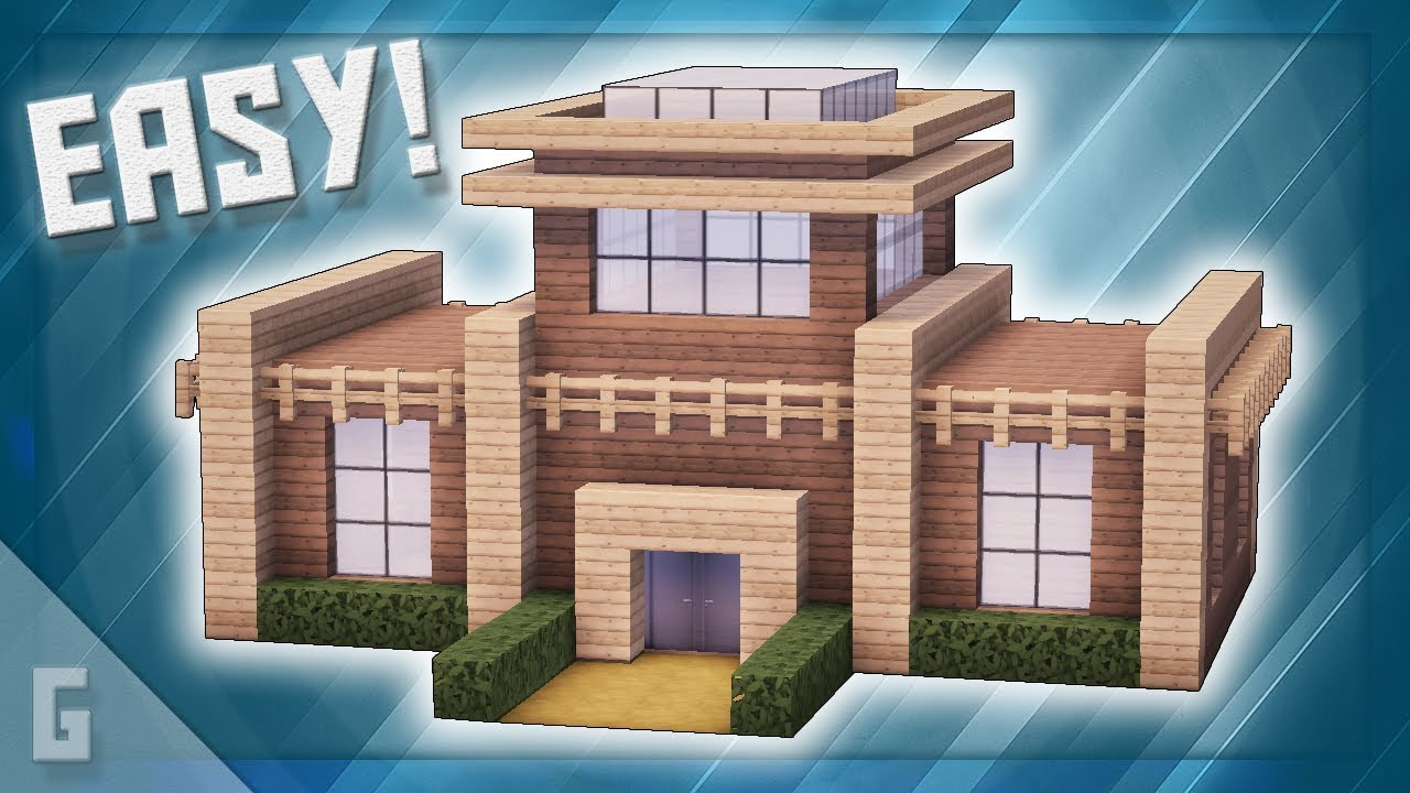 Minecraft Wooden Modern House Build Tutorial 44 Youtube