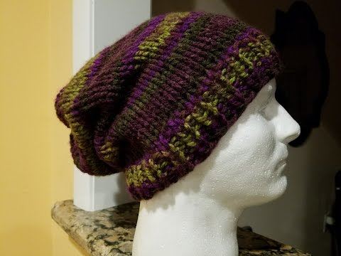 Knit Slouch Hat Tutorial