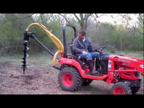 Planting A Tree Using PTO Auger To Dig The Hole