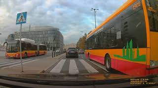Driving through Warsaw - downtown / city, Wola skyscrapers, Piłsudski Square, Grand Theatre and more