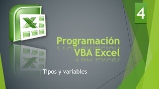 Curso VBA Excel. Tipos y variables. Vídeo 4