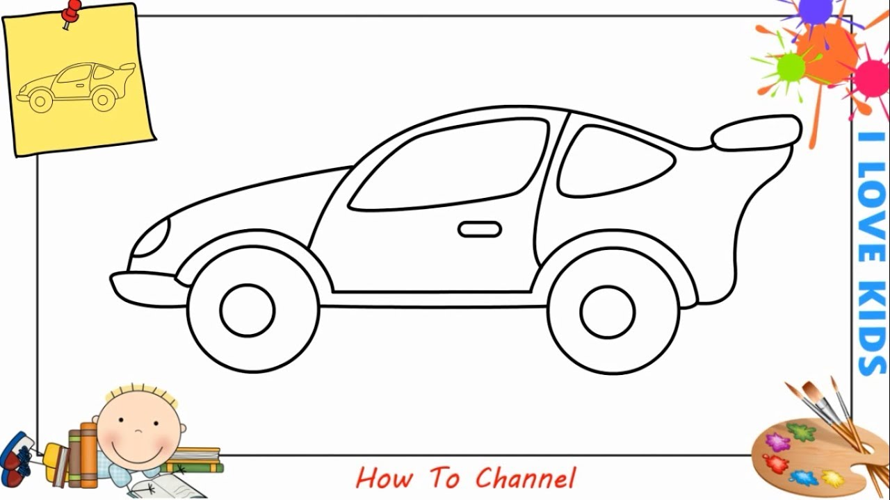 How To Draw A Car Easy Slowly Step By Step For Kids Beginners Children 7