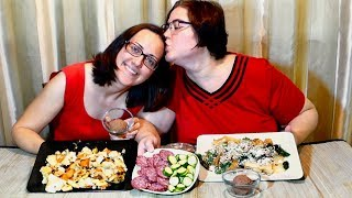 Salami, Hash And Chocolate Mousse | Gay Family Mukbang (먹방) - Eating Show