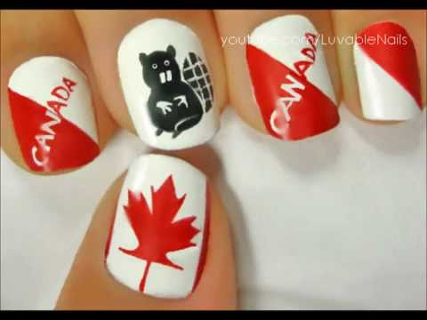 Canada flag with maple leaf beaver nail art by luvablenails canada flag with maple leaf beaver nail art by luvablenails youtube prinsesfo Image collections