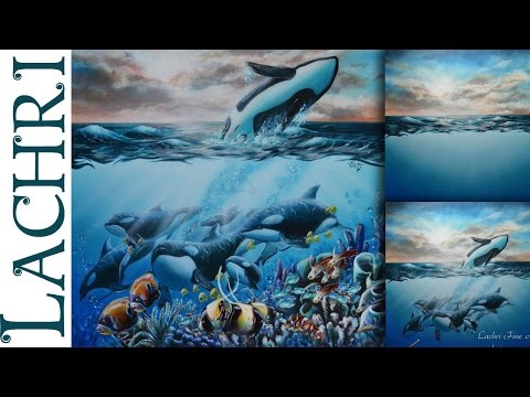 Speed Painting Orcas And Coral Reef In Acrylic - Time Lapse Demo By Lachri