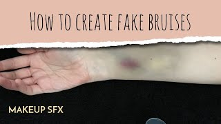 How to create fake bruises - Easy SFX tutorial (no brushes, just eyeshadow)