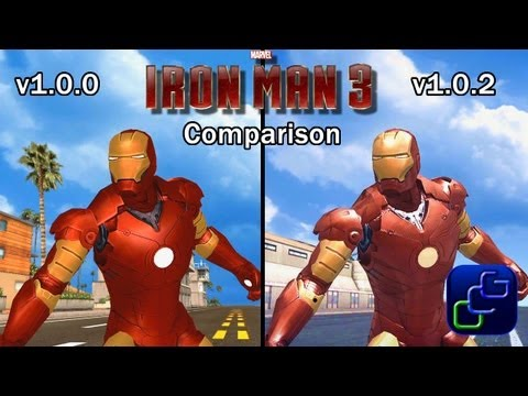 IRON MAN 3: The Official Game Android Walkthrough - version 1.0.0 vs 1.0.2 Update Android Comparison