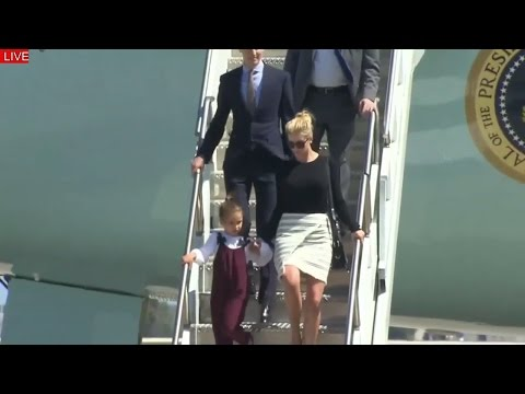 WATCH: President Donald Trump arrives in Orlando on Air Force One With His Family Ivanka Trump Kids