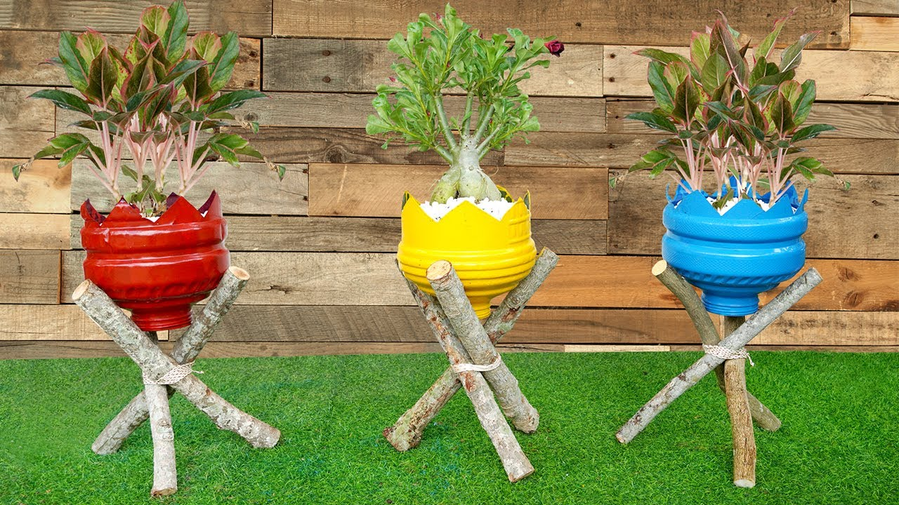 Amazing Ideas, DIY Beautiful flower pots from recycled old plastic bottles