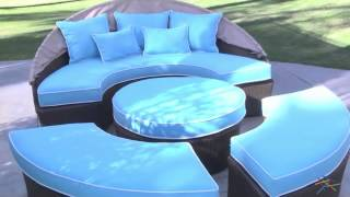 Rendezvous All-weather Wicker Reversible Cushion Sectional Daybed - Product Review Video