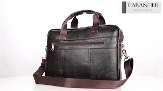 CARANFIER Men Briefcase Top Genuine Leather Messenger Bags