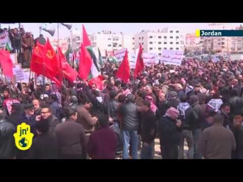 Jordanian protesters in Amman near the Israeli embassy demand the ambassador be expelled.
