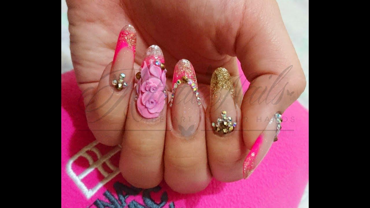 rosa fosfo d uas acrlicas acrylic nail design