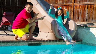 Wendy Pretend Play with Giant Water Slide  Inflatable Swimming Pool Kid Toys for Girls
