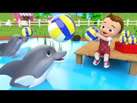Little Baby Play Dolphins Balls at Pool Learn Numbers for Children Kids Educational Videos