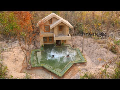 Build Best Swimming Pool With The Most two story mud villa House