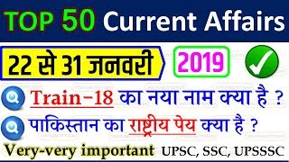 january fourth week current affairs 2019 | current affairs in hindi | feb 2019 | SSC GD CGL CPO RPF
