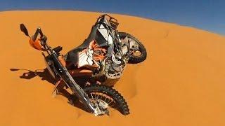 KTM 690 Enduro R: Hillclimb, Jump & Crash at Sand Dune [Sahara, Morocco]
