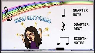 Primary Music Lesson - Quarter Note, Quarter Rest, Eighth Note Rhythms