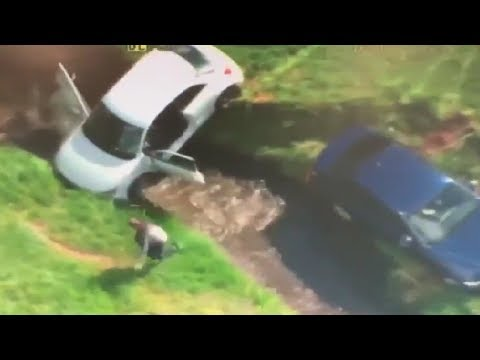 Bodhi - Stolen Police Car & Another Vehicle Fall Into Ditch and Creek (Video)