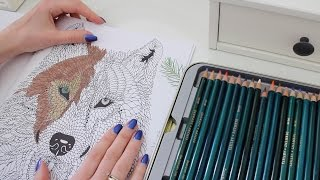 ASMR Whisper Coloring & Page Turning Relaxation | Wolf Session 1