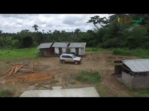 Aerial GPS land survey of cacao blockfarm with DJI Phantom 3 drone