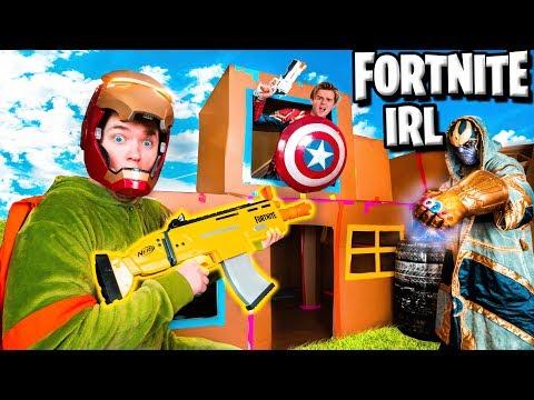 FORTNITE Box Fort Vs THANOS! Avengers Endgame NERF Battle IRL