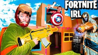 FORTNITE Box Fort Vs THANOS! Avengers Endgame NERF Battle IRL
